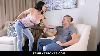 Astonishing brunette MILF passionately sucks on the knees